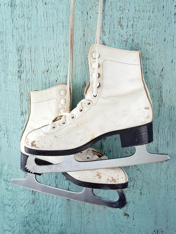 Skates hanging on wall