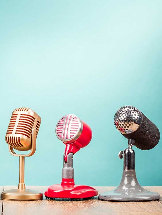 Microphones on table