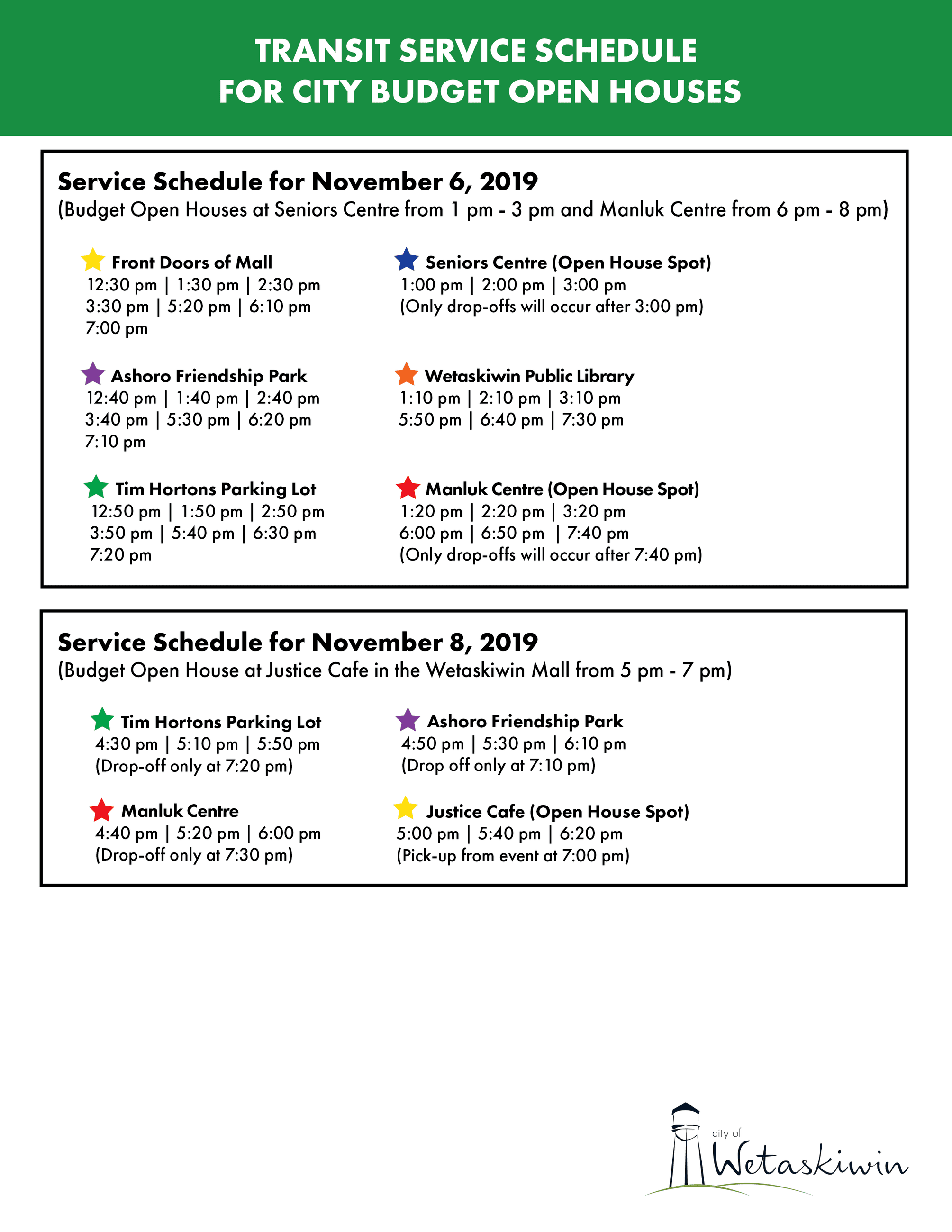 Service Locations for Budget Open Houses - Transit Schedule Nov. 6 and 8