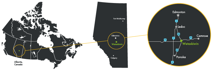 Maps showing the location of Wetaskiwin